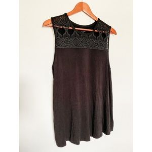 American Eagle Seriously Soft Black Lace Tank Top
